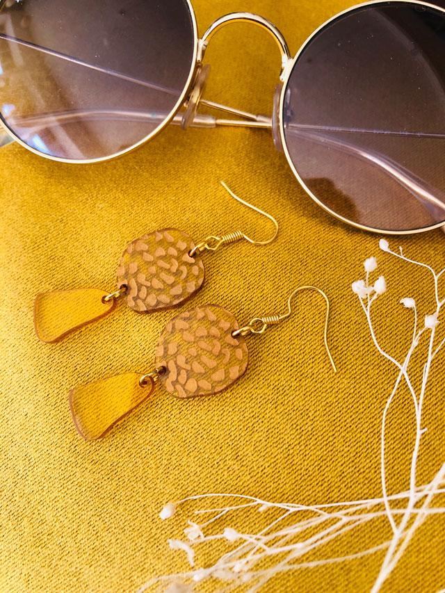 Boucle d'oreilles recyclé PVC jaune fabriqué à Lyon