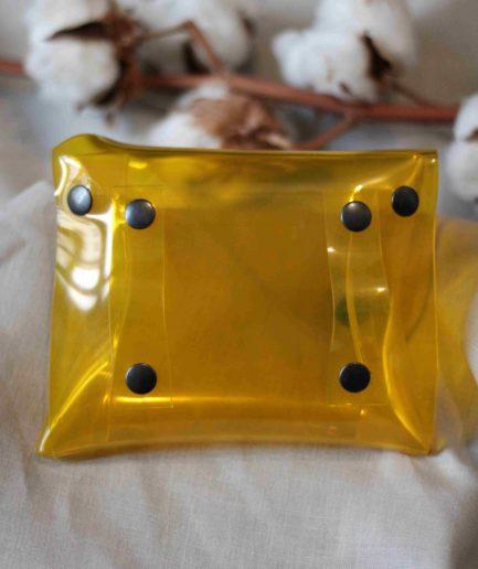Sac ceinture PVC upcyclé transparent jaune fabriqué à Lyon