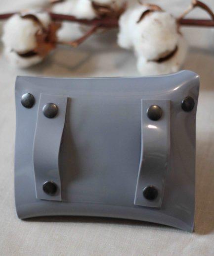 Sac ceinture PVC upcyclé gris fabriqué à Lyon
